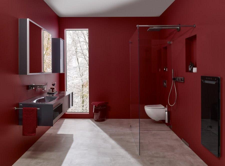 Konzeptbad Rot für Energie 01 Unsichtbar Druschtrennwand