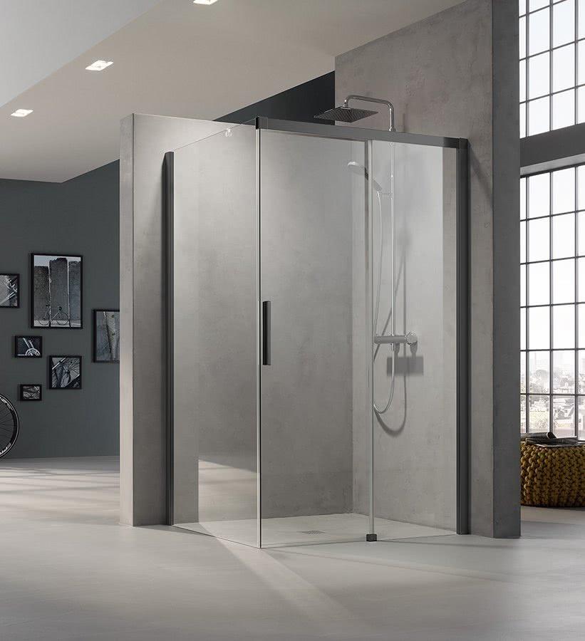 Geradlininge Gleittür transparentes Design Highlights BadeWelten